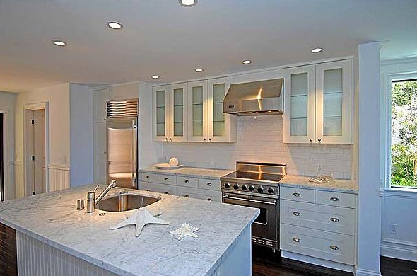 kitchens - carrara marble countertops white cabinets subway tiles backsplash