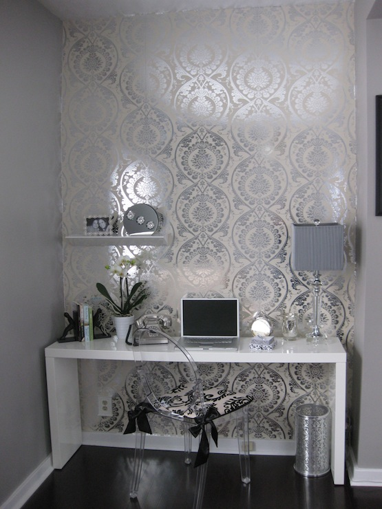 dens/libraries/offices - glossy white modern console table desk wallpaper ghost chair  Desk area in the living room  Glossy white modern desk