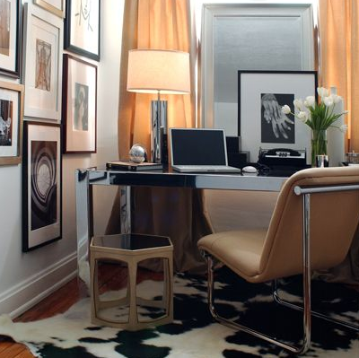 dens/libraries/offices - polished chrome parson desk lamp mirror camel chair white black cowhide rug photo gallery den office  David Jimenez.
