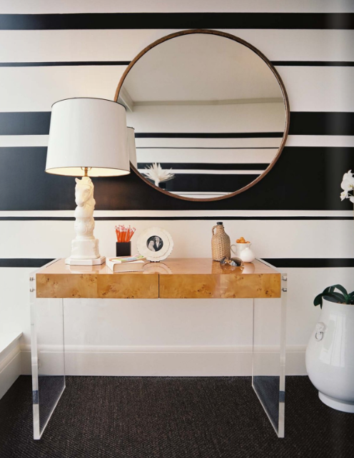 entrances/foyers - Jonathan Adler Bond Desk black striped walls lucite console table horse lamp  Lonny Mag: Lee Kleinhelter of PIECES!   modern,