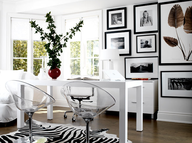 dens/libraries/offices - West Elm Parson Desk Zebra Cowhide Rug acrylic lucite chairs white lamp black white photo gallery den office  Modern