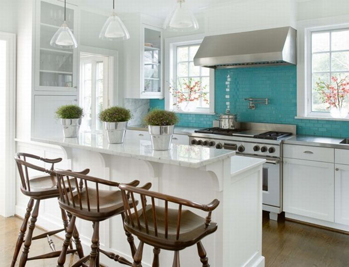 kitchens - turquoise white kitchen stainless steel windsor barstools plants pots stove pot filler turquoise blue glass subway tiles backsplash marble countertops glass pendants