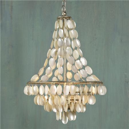 Home - Natural Shell Necklace Chandelier - 3 Lt. - Shades of Light - capiz, chandelier