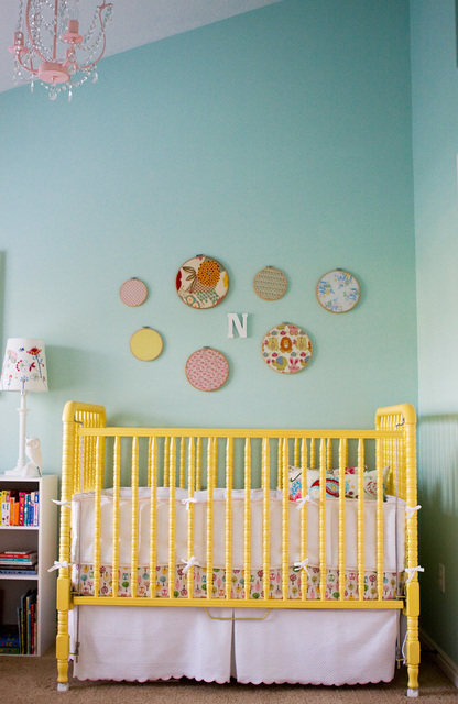 nurseries - yellow Jenny Lind crib pink green crib bedding white bookcase pink crystal chandelier turquoise blue walls paint color nursery  Norah's