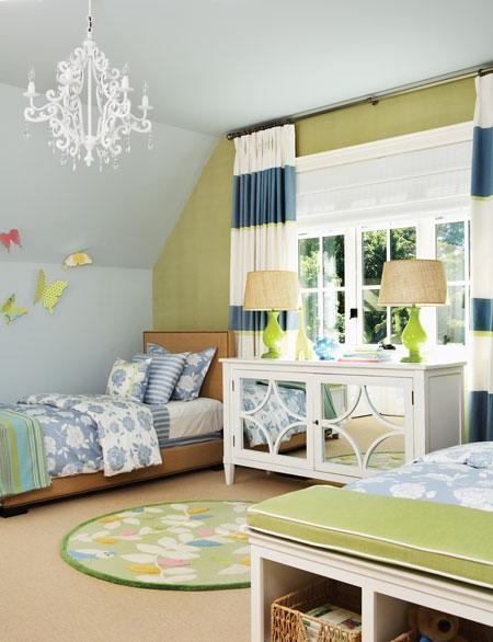 girl's rooms - crystal chandelier horizontal white blue striped drapes white mirrored chest dresser green lamps linen twin headboards bed nailhead trim butterflies blue green walls paint color