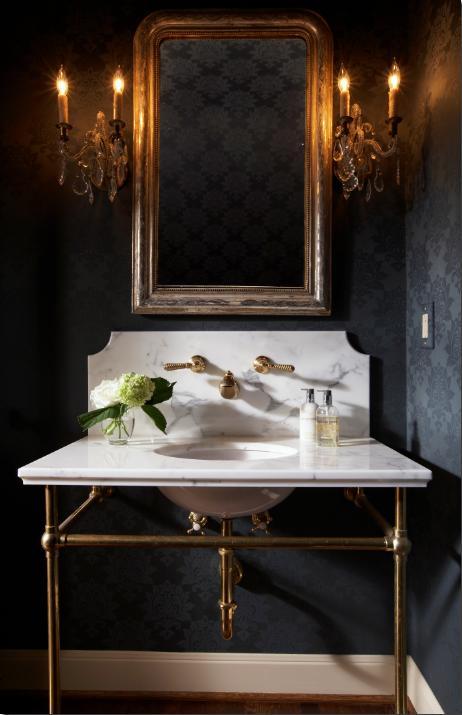 black wallpaper room. lack damask wallpaper