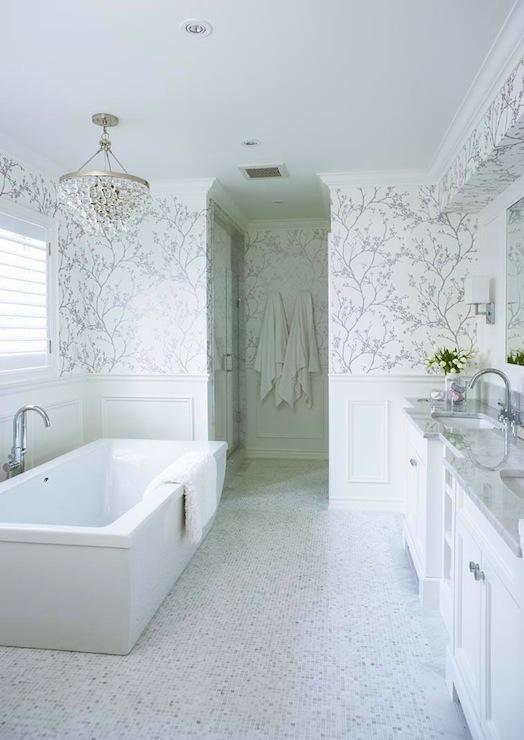 metallic wallpaper modern. bathrooms - modern tub