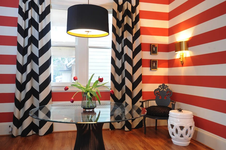 entrances/foyers - Chevron drapes Blount Design  Blount Design.  white red black foyer design with white & black chevron drapes. The fabric is