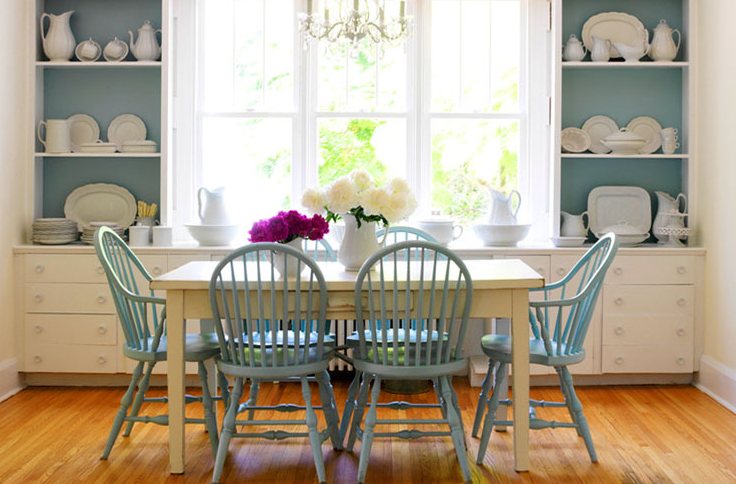 dining rooms - built-ins shelves cabinets turquoise blue windsor dining chairs beadboard backing rustic dining table farmhouse kitchen painted backsplash