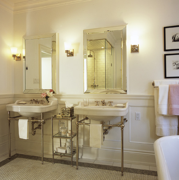 bathrooms - double sinks beveled mirrors porcelain sinks polished chrome bases etagere polished chrome sconces faucets crown molding white carrara marble hexagon tiles floors