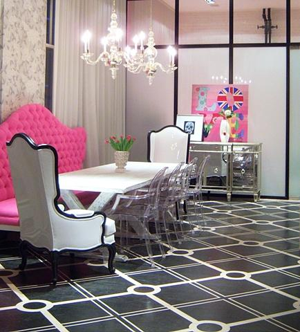 dining rooms - Hilary White Liv-Chic Modern Baroque Pink Dining Room Lucite Chairs Mirrored buffet Chandelier Tufted Black and White Punk Love