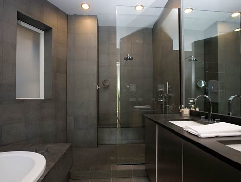 Contemporary Bathroom Design Gallery on Bellfia   Bathrooms   Gray  Slate  Tiles  Masculine  Modern  Bathroom