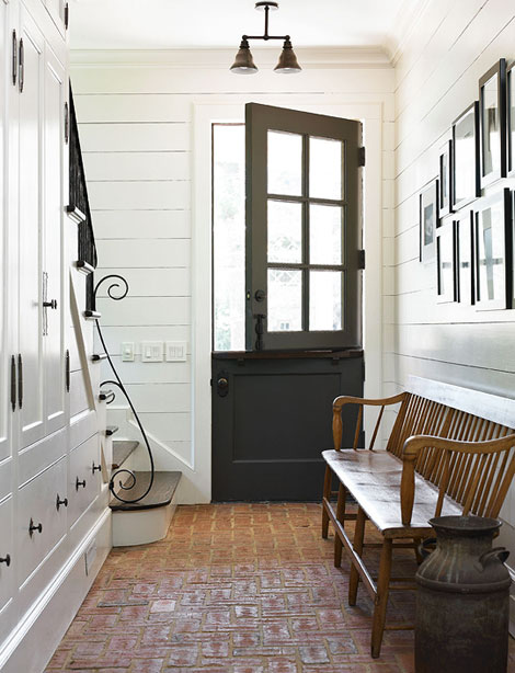 Suzie: Amy Morris  Emily Followil Photography  white & black farnhouse foyer design with matte ...