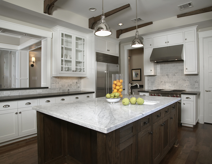Suzie: Ashley Goforth Designs  white kitchen glass-front cabinets, white carrara marble ...