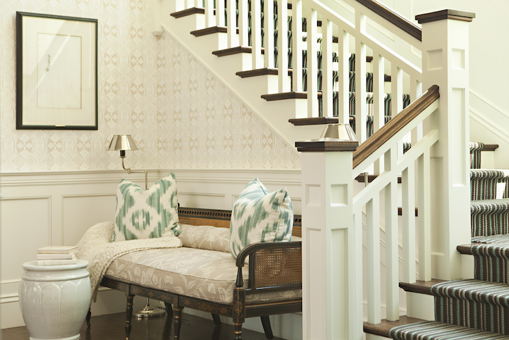 entrances/foyers - blue brown striped stair runner white green pillows cane bench white garden stool wainscoting  Thornton Designs  ivory & seafoam