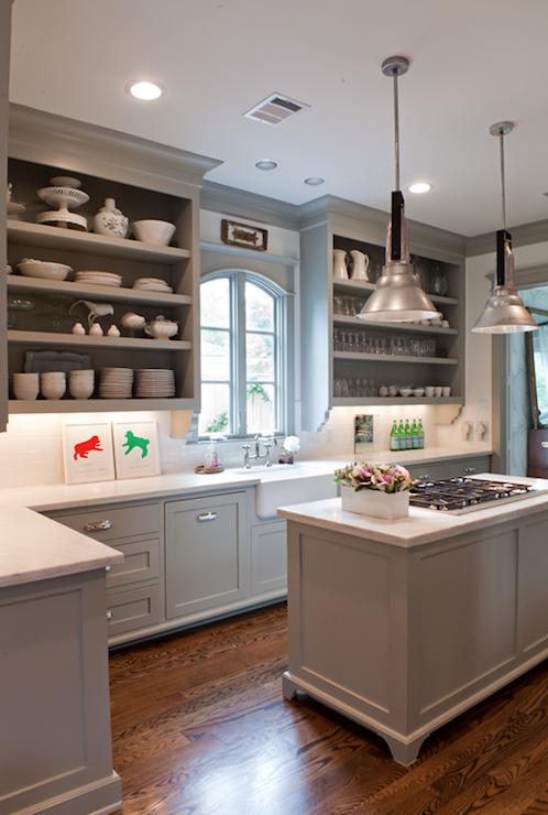kitchens - Benjamin Moore - Fieldstone - gray kitchen cabinets open shelves farmhouse sink island pendants calcutta marble countertops  Sally
