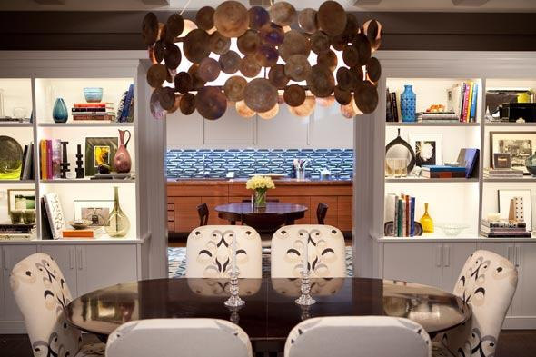 Suzie: Marks & Frantz - SATC Oval dining table, custom chairs upholstered in Lee Jofa Belgravia ...