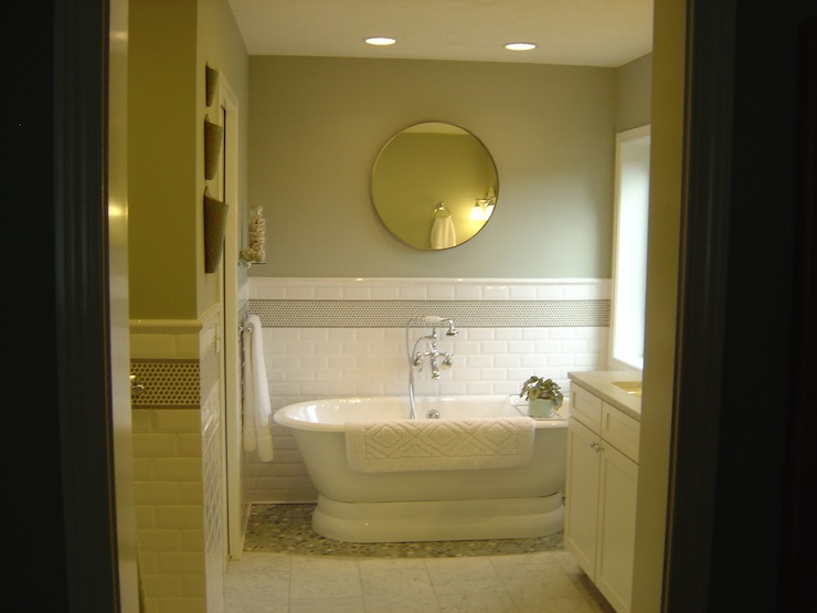 bathrooms - Carerra marble tile floor and countertop pebble shower floor subway backsplash  Master bathroom redo  green gray walls paint color,
