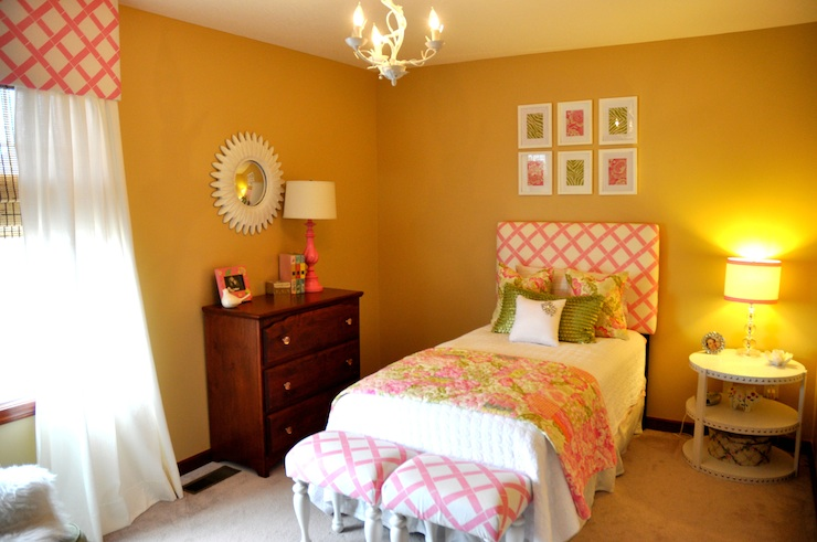 girl's rooms - Sherwin Williams - blonde - pink green bed stools quilt starburst mirror dresser lamp  girls room, headboard, pink and green