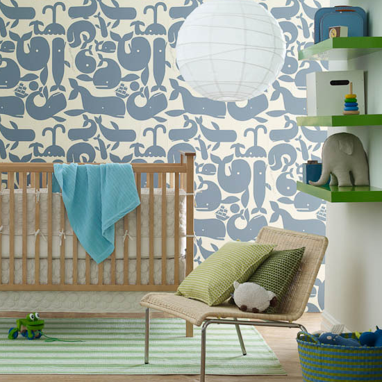 nurseries - Pottok Papers Geoff McFetridge Little Whales Wallpaper striped green rug blue whale wallpaper crib green pillows woven chair white lantern pendant