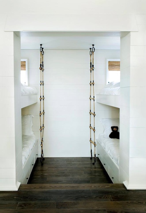 boy's rooms - modern bunk beds drawers storage bamboo roman shades rope ladders  Turner Davis Interiors ~ Benecki Homes.  bunk beds with drawers