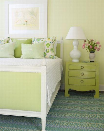 Suzie:  Phoebe Howard.  spring green playful bedroom with green walls, green upholstered bed, ...