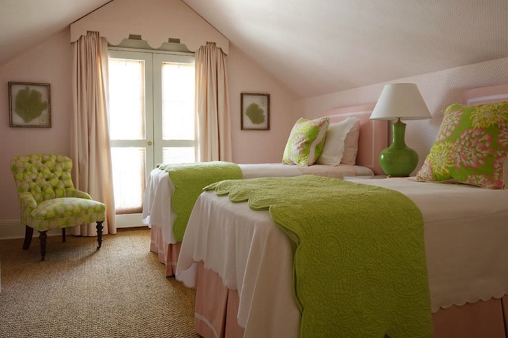 girl's rooms - pink walls green tufted chair black caster legs green seafan art pink cornice box drapes pink twin headboards green lamp pink bed skirt green bedding pink green floral pillows sisal rug