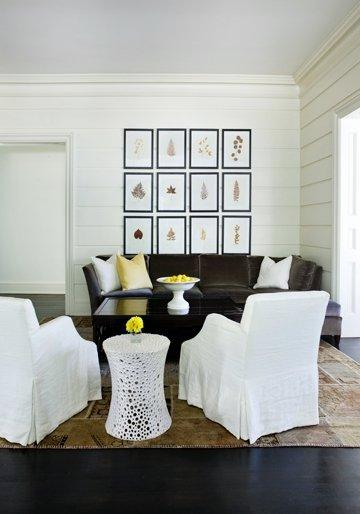 living rooms - charcoal. gray velvet sofa white slipcovered chairs glossy black square cocktail table white slipcovered chairs art gallery  Turner