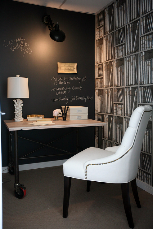 dens/libraries/offices - Restoration Hardware Martine Chair black chalkboard accent wall faux library bookshleves wallpaper  The Cross Decor