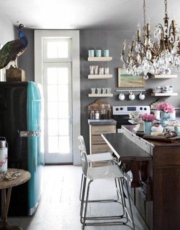 kitchens - Benjamin Moore - Amherst Gray - gray walls turquoise blue vintage refrigerator rustic kitchen island floating shelves  Elizabeth Carney