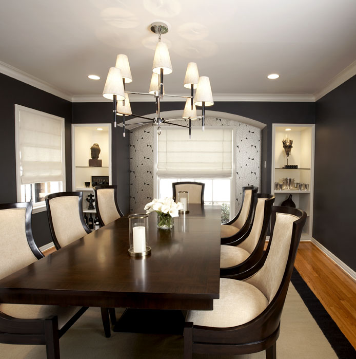 black wallpaper room. dining rooms