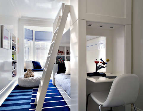 boy's rooms - modern white bunk beds desk white blue striped rug white ladder blue roman shades white pouf bay window built-in bench blue cushions