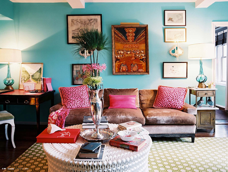 Suzie:  Angele Perlange ~ Patrick Cline Photography via Lonny Mag!  turquoise blue & hot pink ...