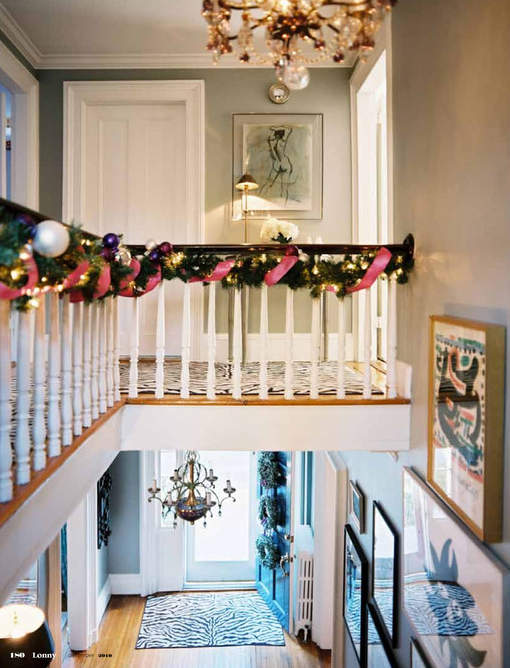 entrances/foyers - festive Christmas holiday decorating decor white black zebra runner rug gray green walls eclectic art gallery  Eileen Kathryn