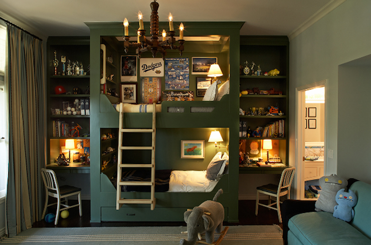 boy's rooms - 1006 Navy Chair green built-ins bunk beds desks shelves ladder ivory blue striped rug ivory blue striped silk drapes  Kristen Panitch