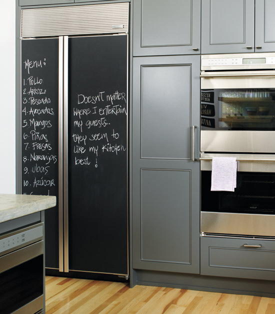 kitchens - blue gray painted kitchen cabinets chalkboard refrigerator fridge maple wood floors stainless steel appliances  Donna Griffith Photography