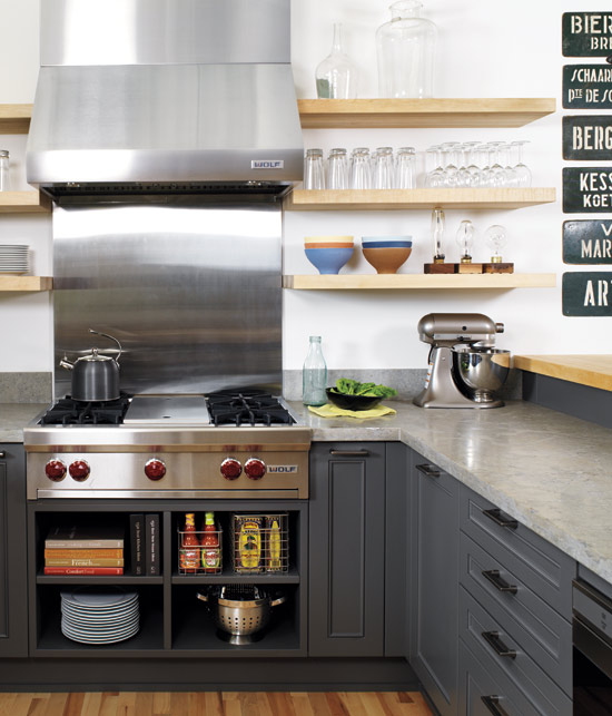 kitchens - gray kitchen cabinets floating shelves stainless steel appliances  Donna Griffith Photography via Style at Home Mag!  gray cabinets,
