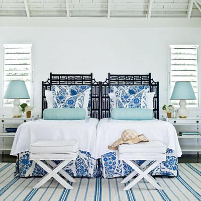bedrooms - Faux White Crocodile Bench black twin headboards blue bedding turquoise blue bolster pillows white faux crocodile x benches white nightstands white gourd lamps blue tapered lamp shades white blue striped rug
