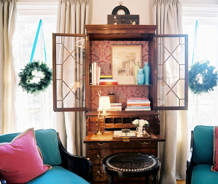 living rooms - turquoise blue silk ribbons holiday decor wreaths chippendale secretary desk turquoise blue chiars pink pillows  Eileen Kathryn