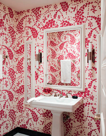 pink wallpaper room. pretty pink powder room design