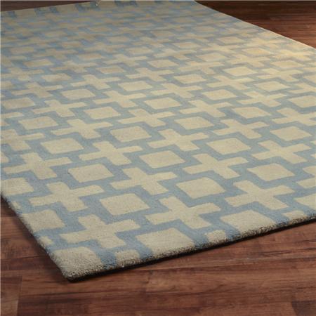 Square Trellis Tufted Rug 2 Colors Shades of Light blue square