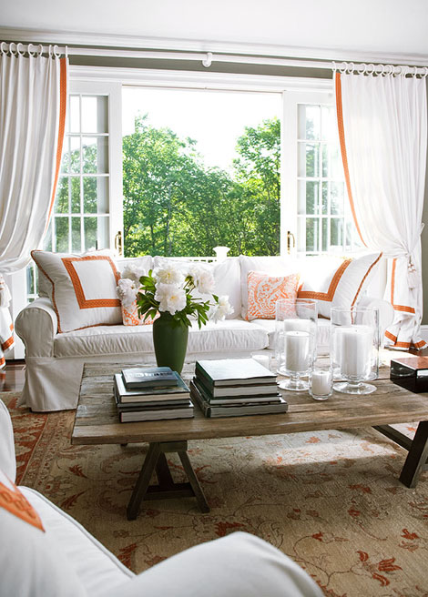 Suzie:  Christopher Peacock Traditional Home Mag  white & orange light & breezy living room ...