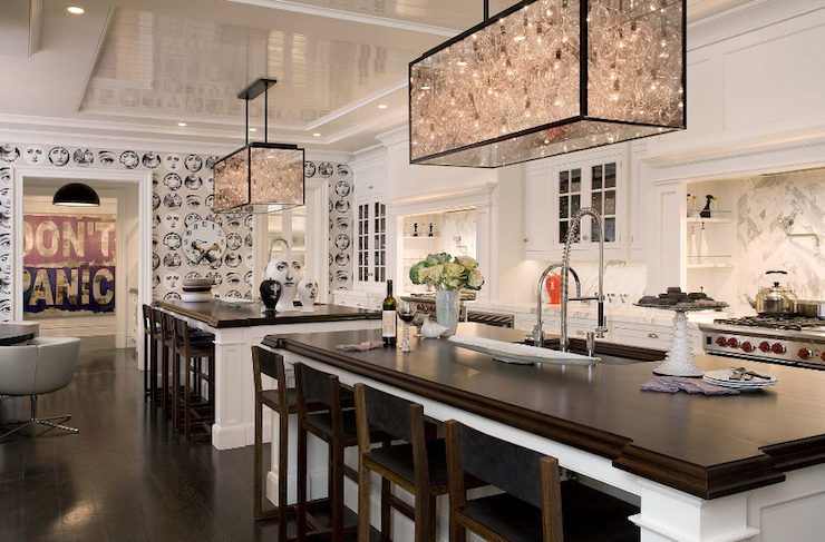 Kitchens Fornasetti Wallpaper White Glass Front Cabinets Beveled Butcher Block Countertops Calcutta Marble Countertops