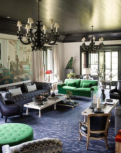 living rooms - green contemporary tufting black drama hollywood regency  Jeffers Design Group. Sleek black ceiling. Long and low sofas for an