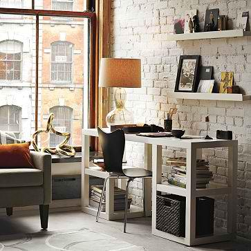 dens/libraries/offices - office wall shelves exposed brick desk west elm  West Elm office space, 2x2 desk