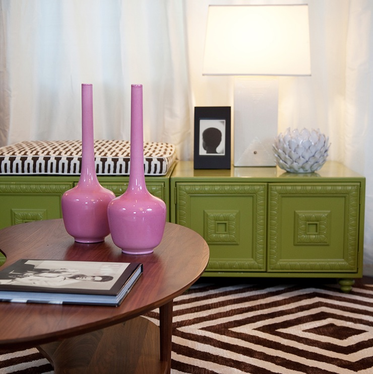 living rooms - Zig Zag Rug Chartreuse Lemon Lime Yellow Ceramic White Square Lampshade White Curtains Pink Vases Decorative Sixties Regency Room and Board Kidney Danish Modern Contemporary Retro Vintage Elvis Artichoke Geometric Los Angeles Younger & Ziskin Interior Design