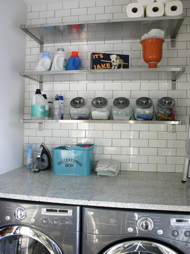 laundry/mud rooms - gray washer dryer stone countertop stainles steel shelves subway tiles backsplash canisters  Kitchen Lab  gray washer & dryer,