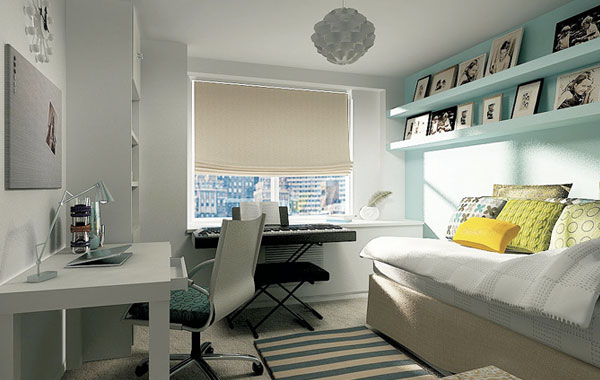 dens/libraries/offices - West Elm Parsons Desk turquoise blue acent wall floating shelves tan linen daybed oatmeal linen roman shade white turquoise blue striped rug