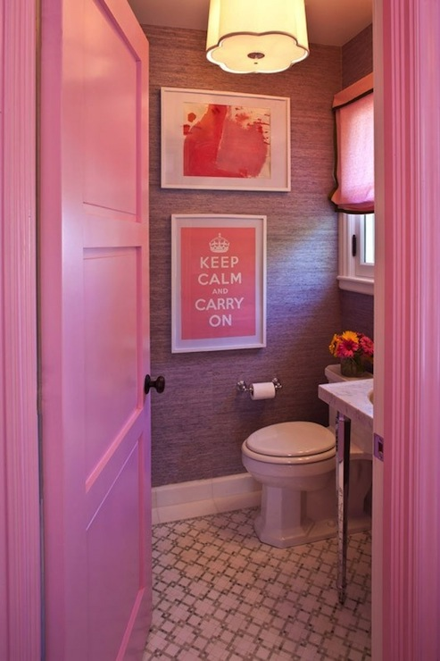 Suzie:  Grant Gibson  girly pink & purple bathroom design with purple grasscloth wallpaper, ...