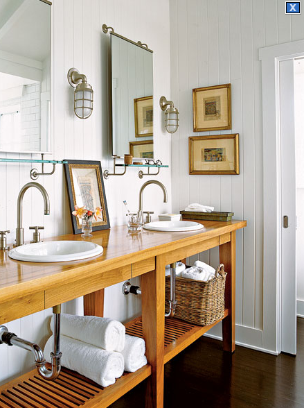 Suzie:  Cottage Living Mag via MyHomeIdeas.  cottage bathroom design with white paneled walls, ...
